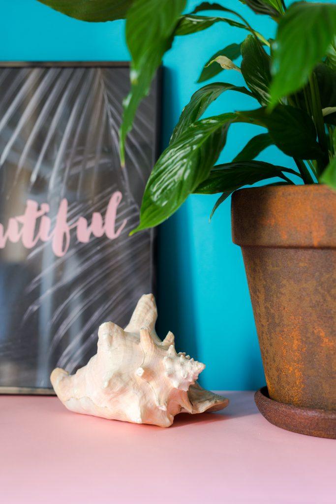 Donica Pokryta Rdzą zaprezentowana z rośliną w pomieszczeniu