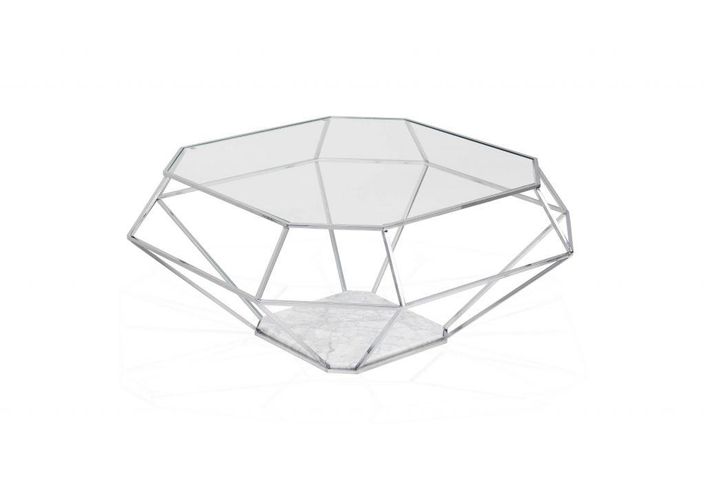 Designerskie Meble Stolik Diamond wykonany z metalu, marmuru oraz szkła. Gratak dla koneserów wyszukanego designu