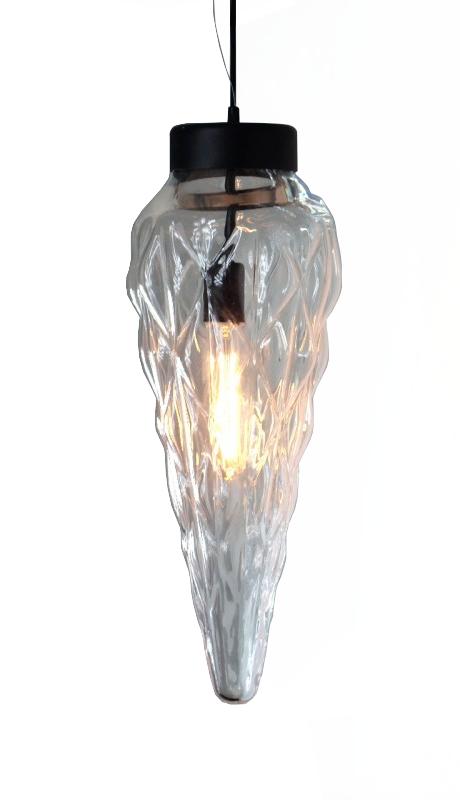 Lampa wisząca pojedyncza Sopel z ciekawym szklanym kloszem