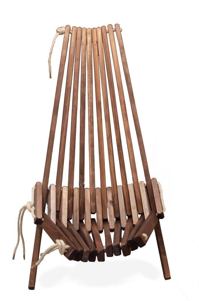 drewniany fotel leżak rest na balkon lub taras